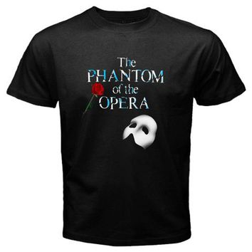 THE PHANTOM OF THE OPERA Mask Broadway Musical Men's Black T-Shirt Size S to 3XL Top Harajuku Short Sleeve Shirts
