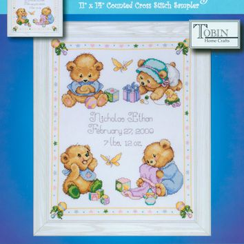 "Baby Bears Birth Record Counted Cross Stitch Kit 11""X14"" 14 Count"