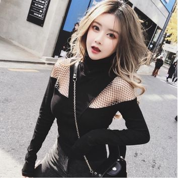 Black Goth Punk Long Sleeve Fishnet Yarn Stitching Top Turtleneck Hollow Out T-shirts