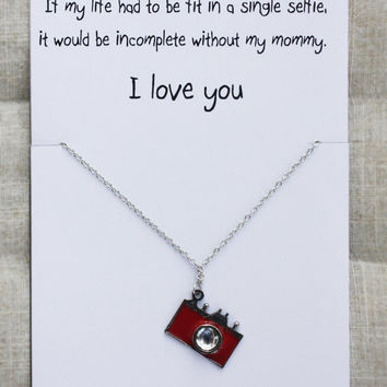 Red Camera Pendant Love You Gift Card Hippie Woman Necklace