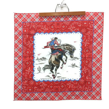 Vintage Red Bandana, Cowboy Bucking Bronco, Rockabilly, Rodeo, Western Print, Handkerchief, Horse Scarf, Wild West, Hanky, Neckerchief