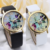 Women Fashion Vases Dial Watches With Leather Band
