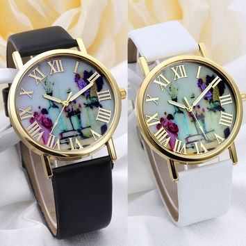 Women Fashion Vases Dial Watches With Leather Band = 1956889284
