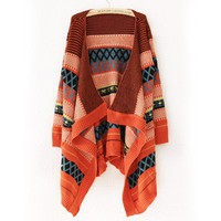 Orange Women Crochet Cardigan Sweater Autumn Jacket @A160or