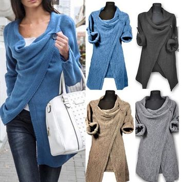 2017 Sexy Women Cowl Neck Long Sleeve Jumper Top Cardigan Split Wrap Sweater Poncho