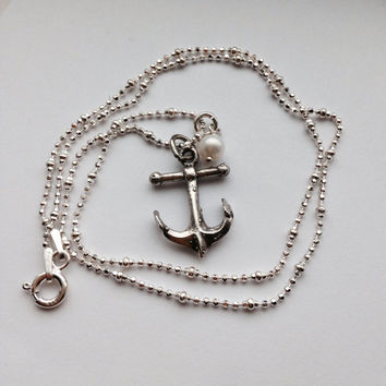Anchor Necklace, Sterling Silver, Nautical
