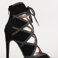 Women's Qupid Nubuck Caged Lace Up Open Toe Stiletto Bootie