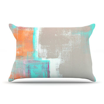 "CarolLynn Tice ""Gifted"" Gray Aqua Pillow Sham"