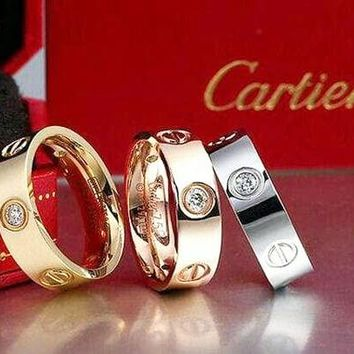 """Cartier"" Fashion Cute Lovers Rings Women Men Ring Rhinestone Ring Rn I"
