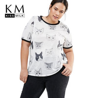 Kissmilk Plus Size New Fashion Women Clothing Casual Basic Print Tops Streetwear O-Neck Loose Big Size T-shirt 3XL 4XL 5XL 6XL