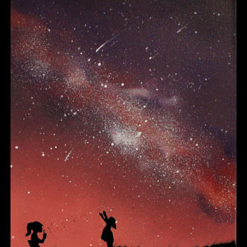 Space Art Children playing Paintings on Canvas - Space Art Wall Art Stars Little Boy  Little Girl - Spray Paint Art - Silhouette