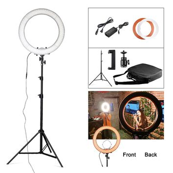 "Travor Studio Dimmable 18"" 5500K 55W 240 LED Camera Photo/Studio/Phone/Video Photography Ring Light Lamp with Tripod Stand"