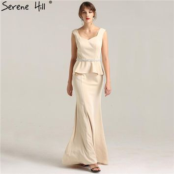 Mermaid Mother of Simple New Evening Gowns Pearls Crystal Sexy Fashion Mother of the bridal