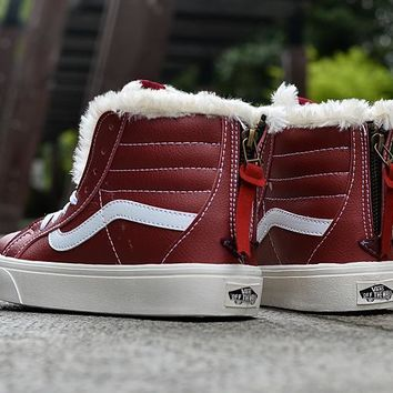 PEAPON Vans Claret High Top Leather With Fur Warm Casual Zipper Sneakers Sport Shoes