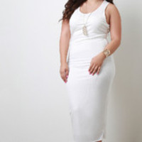 Women's White Ribbed Knit Dress In Plus Sizes
