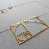 Fibonacci Sprial Golden Ratio necklace / Wild by WildThingStudio