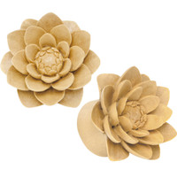 "3/4"" Organic Crocodile Wood Lily Hand Carved Plug Set"