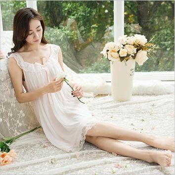 2018 Summer Brand nightgown Women White dress Ladies Modal Nightdress Female Sweet sexy lace nighty dresses Girls sleeve dress