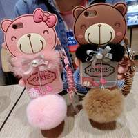 Cute bear baby plush ball phone case For iPhone 6 6S 6Plus 6S Plus 7 7 PLUS  Girllove100