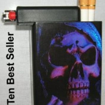 Cigarette Case Grim Reaper Skull with Built on Lighter Holder