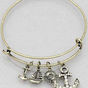 Womens Jewelry, Crystal Anchor Hook Sailboat Buoy Bangle Bracelets Color : Burnished Gold Size : Diameter:2.25inch