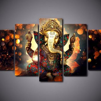 Ganesh Hindu Elephant God Ganesha 5-Piece Wall Art Canvas