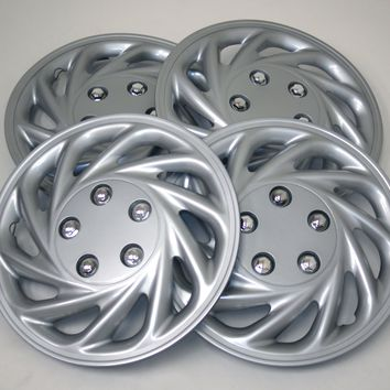 "Set of 4  Metallic Silver Hubcaps 15"" WSC-868S15 - Hub Caps Wheel Skin Cover 15 Inches 4 Pcs Set"