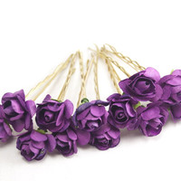 Bridal Hair Accessories, Purple Rose, Purple flower Hair Bobby Pin, Brass Bobby pin- set 6