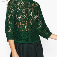 GUIPURE LACE PUFF SLEEVE TOP