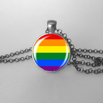 Rainbow Pride Necklace Gay Pride LGBT Jewelry Colorful