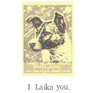 I Laika You Card | Funny Russian Vintage Space Rocket Astronaut Nerdy Dog Animal Humor Love Valentine Birthday Card For Him For Her
