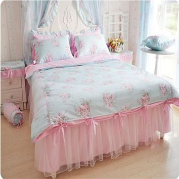 Elegant bedding set flower print duvet cover ruffle lace bed sheet princess wedding bedroom textile pastoral style 4pcs/set
