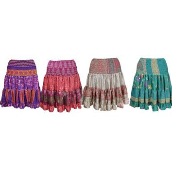 Wholesale Lots Of 4 Womens Bohemian Fashion Skirt Vintage Recycled Silk Full Flare Stylish Summer Short Skirts - Walmart.com