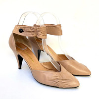 PIERRE FONTAINE!!! Vintage 1980s 'Pierre Fontaine' nude heeled pumps with shaped ankle strap and gather details