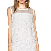 White Lace Sleeveless with Cut-out Edge Mini Dress