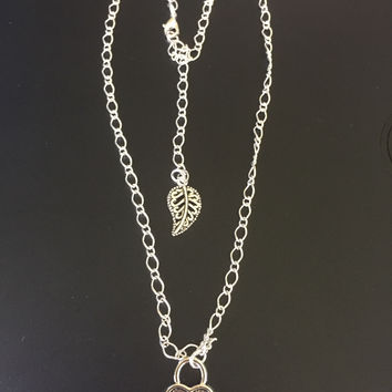 Heart Lock and Leaf Silver Chain Necklace
