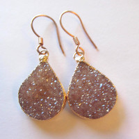 Natural Druzy Dangle earrings edged in rose gold