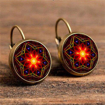 Euro-American Bohemia Retro Glass Gem 6 Corner Star Hook Earrings Jewelry HU