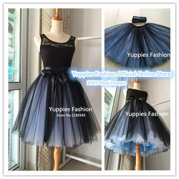 "2016 Summer Fashion 21"" Long Two Tone Mini Women Tulle Skirts Princess Adult Tutu Ball Gown Saias Femininas vestidos Plus Size"