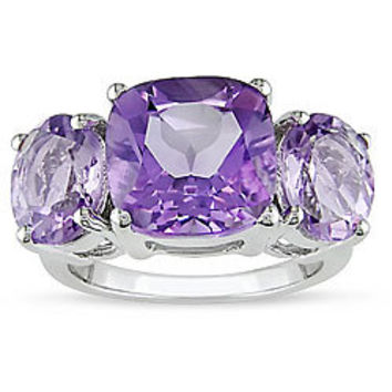 Miadora  Silver Amethyst and Rose de France Quartz Ring | Overstock.com