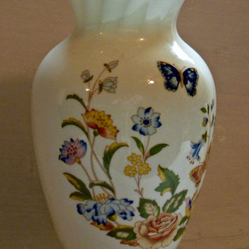 Aynsley Fine Bone China Vase Cottage Garden | Butterfly Flowers Spring