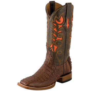 Women's Cigar Hornback Caiman-12in Orange Inlay Top Cowgirl Boots