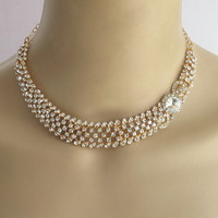 Wedding Bridal Gold Crystal Necklace Jewelry Set
