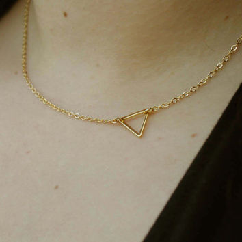 Triangle Necklace - Charm Necklace - Tiny Necklace - Delicate Necklace - Triangle Pendant - Gold Jewelry - Gold Necklace - Gift Under 20
