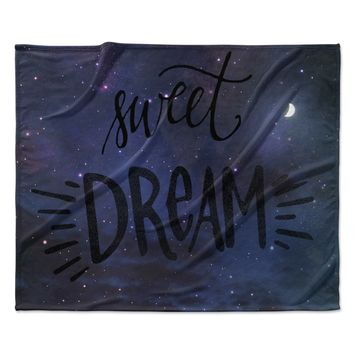 "Robin Dickinson ""Sweet Dream"" Black Purple Galaxy Fleece Throw Blanket"