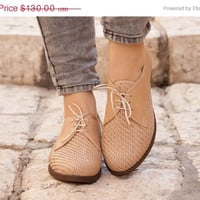 Christmas Sale 30%, Free Shipping, Natural Leather Shoes, Woven Oxford Shoes, Close Shoes, Flat Shoes, Cream Shoes