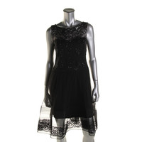 Marchesa Notte Womens Tulle Sleeveless Party Dress
