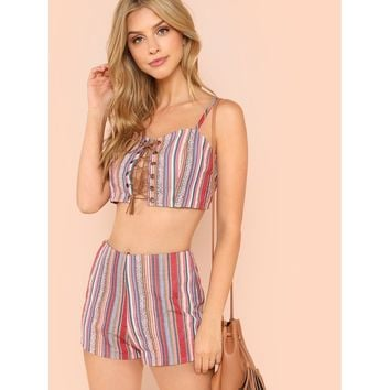 Multicolor Lace Up Front Crop Cami Top And Shorts Set