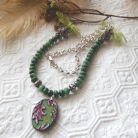 One of a Kind Gemstone, Sterling Silver, Polymer Clay, and Ribbon Necklace