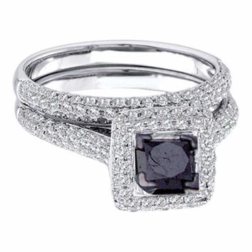 14kt White Gold Women's  Black Color Enhanced Diamond Bridal Wedding Engagement Ring Band Set 1-1-4 Cttw - FREE Shipping (US/CAN)